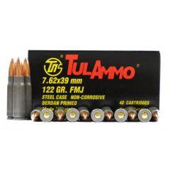 TulAmmo 7.62 x 39mm 122gr FMJ Berdan Primed